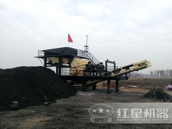 移动式煤炭破碎机客户现场