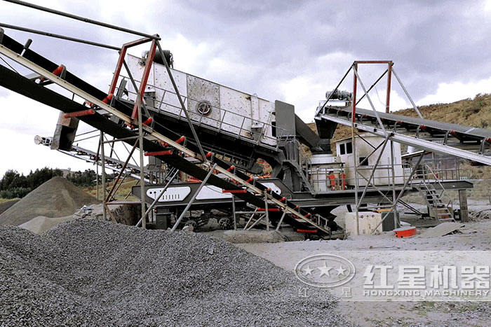 移动碎石生产线现场